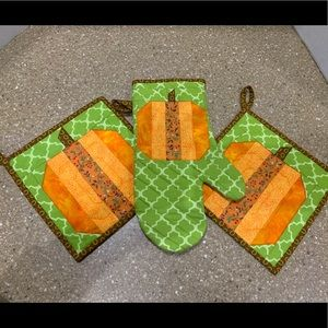 Handmade Quilted Pumpkin Potholder Set